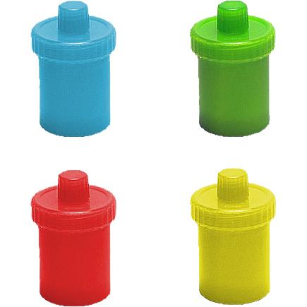 Futterkruken in blau, grün, rot und gelb